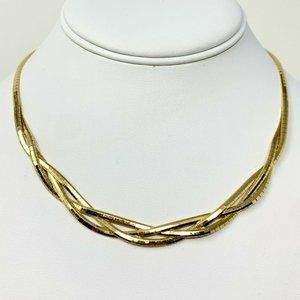 """Jewelry - 14k  Gold Ladies Weave Omega Link Necklace 16"""""""